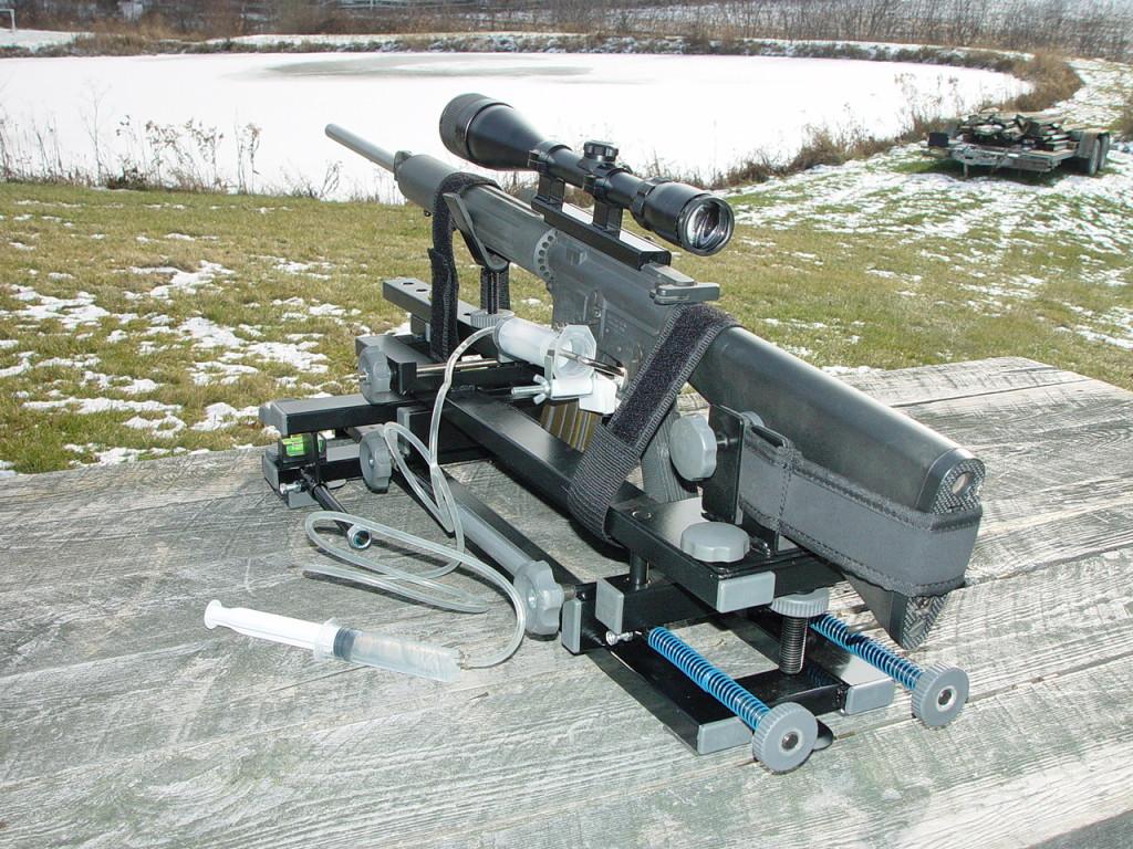 black gun machine rest